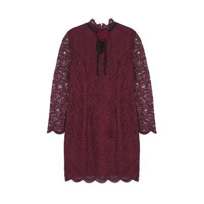 ribbon lace dress burgundy